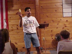 Pastor Joe speaking in the late 90's! Nice jean shorts =)